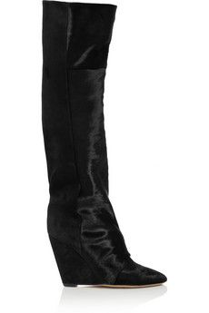Want these - Isabel Marant Shelia calf hair and suede knee boots | THE OUTNET