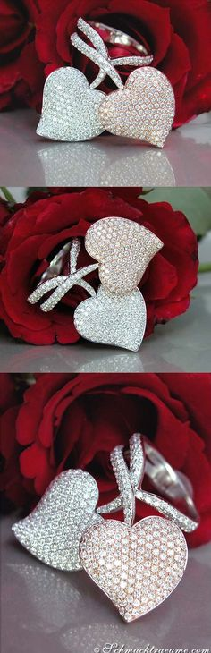 White and Pink Diamond Heart Ring, cts. I Love Jewelry, Heart Jewelry, Diamond Jewelry, Fine Jewelry, Diamond Rings, Owl Jewelry, Jewelry Rings, Bling, Ring Armband