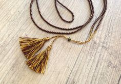 Long Copper Tassel Necklace Golden Brown Tassel by PiscesAndFishes Copper Necklace, Dainty Necklace, Tassel Necklace, Golden Brown, Santorini, Casual Chic, Tassels, Greece, Jewelery