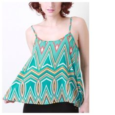 "Pastel Tribal Geometric Motif Tank Top Easy, breezy, pretty :) bust area measures 35"" to 37"". Tops Tank Tops"