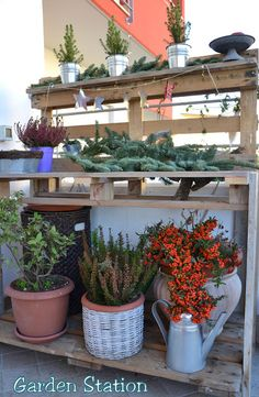 Garden Station With Pallet. I Like This, This Would Look Good On My Deck