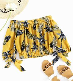SheIn offers Bardot Pineapple Print Random Crop Top & more to fit your fashionable needs. Crop Top Outfits, New Outfits, Cool Outfits, Casual Outfits, Fashion Outfits, Summer Day Outfits, Off Shoulder Outfits, Belly Shirts, Diy Vetement