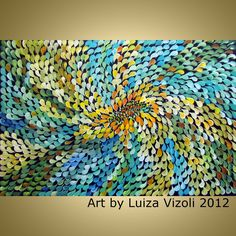 Original Modern Contemporary Abstract Floral Painting SUMMER FLOWER by Luiza Vizoli. $325.00, via Etsy.