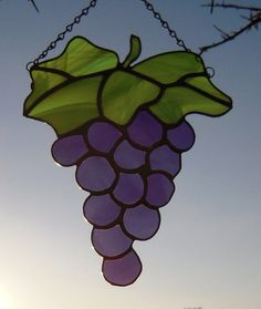 Stained Glass Grape Cluster by LedByGlass on Etsy, $35.00
