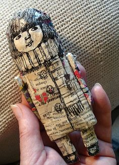 paper mache and hand drawn doll