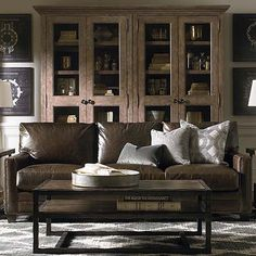 Great Room Sofa - love the wood of bookcase.
