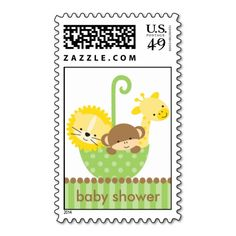 Jungle Animals in Green Umbrella Postage Stamps Postage Stamps