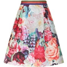 Ted Baker Kaideen Swirl Floral Skirt ($195) ❤ liked on Polyvore featuring skirts, flower print skirt, ted baker, floral skirt, floral printed skirt and knee length pleated skirt