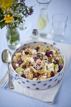 Great summer side salad! Zingy Beetroot, Feta Cheese, Cous cous Salad | DonalSkehan.com