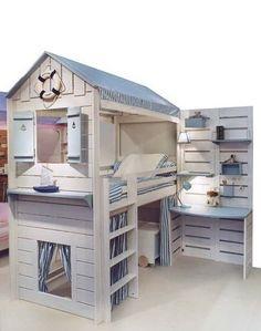 Marvelous Fun Coastal Bedroom Ideas Kids - Page 3 of 22 Bunk Beds Boys, Kid Beds, Boys Bedroom Furniture, Kids Bedroom, Bedroom Ideas, Man Room, Girl Room, Mini Bad, Kawaii Room