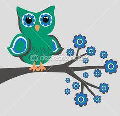 Color green owl flowesr by popocorn - Stock Vector