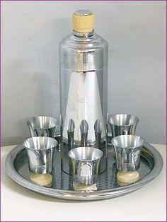 "Art Deco Cocktail Shaker 1930's vintage Chase Chrome ""Doric Cocktail Set"""