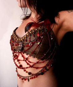 Tribal BD costuming ideas: Kali's Teardrops brown leather halter bra / bustier top decorated with brass and red glass Leather Halter, Leather Bra, Brown Leather, Belly Dance Bra, Belly Dance Costumes, Tribal Fusion, Larp, Tribal Costume, Tribal Dress