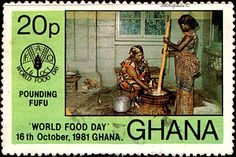 Ghana.  WORLD FOOD DAY.  WOMEN POUNDING FUFU.  Scott  765 A164, Issued 1981 Oct 16,  Litho., Perf. 14, 20. /ldb.