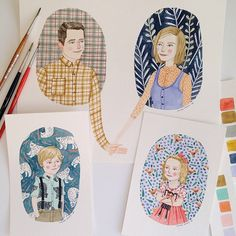 Finished and sent! Thank you to the unbelievably patient Brodegard family! It was a pleasure to paint your beautiful faces. @stephbrodegard #familyportrait #coupleportrait #portraits #family #illustration #painting #watercolor #bears #birds #flowers #plaid #pattern #love #brookesmart