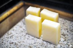 This recipe may not be all that romantic, but I can promise it's wonderfully practical. It yields hard white bars that are inexpensive to make and nicely bubbly. The bars shred down beautifully into soapy flakes and bits that make … Continue reading → Laundry Detergent Recipe, Diy Cleaning Products, Homemade Products, Coconut Oil Soap, Essential Oils Cleaning, Soap Recipes, Recipies, Recipe Using, Laundry Powder