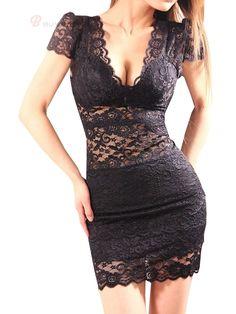 Vougue Lace Deep V-Neck Sheath Dress Perspective Dress Bodycon Dress Black - BuyTrends.com