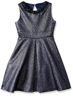 Rare Editions Big Girls Jacquard Dress Navy 12 -- You can get additional details at the image link.