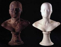 Janine Antoni. first one out of chocolate using her mouth as the tool. the second one is soap using her body to form it.