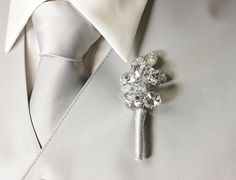 Boutonniere - Beaded Mirrored Boutonniere - Button Hole - Wedding Accessory for Groom, Groomsmen, and Prom