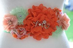 Orange and Green Maternity Sash Coral Belly Sash Orange Diy Belts, Sash Belts, Maternity Sash, Salma Hayek, Fajitas, Corsage, Nursery Ideas, Babyshower, Shower Ideas
