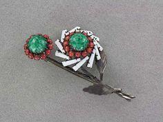 Beautiful Milk Glass SCHREINER Keystone Flower Pin (PN1106)   eBay