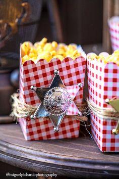 Sheriff badge popcorn from a Western Cowboy Birthday Party on Kara's Party Ideas | KarasPartyIdeas.com (12)