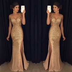 Slit dress prom - Sexy Long Crystal Beaded Prom Dress With Slit Mermaid Prom Dresses Evening Gown 125 from Fashiondressess – Slit dress prom Backless Mermaid Prom Dresses, Beaded Prom Dress, Mermaid Evening Dresses, Formal Evening Dresses, Formal Prom, Dress Formal, Formal Wear, Dress Prom, Bling Dress