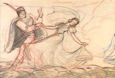 """Walt Disney's """"Snow White & The Seven Dwarves"""" concept art: The Prince & Snow White Disney Sketches, Disney Drawings, Art Sketches, Old Disney, Disney Art, Disney Animation, Animation Film, Animation Library, Color Script"""