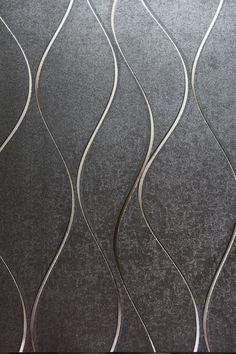 Modelo 701304. Color gris obscuro, con líneas en plata y oro. #Papeltapiz #Tiendaenlinea #Decoracion Living Room Murals, New Homes, Wallpaper, Abstract, Paint Ideas, House, Painting, Artwork, Images