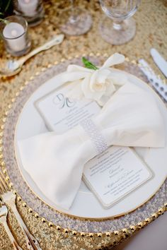 Glam San Francisco Wedding Reception Table Setting, with gold sequins, sparkly napkin rings and more. So fancy!
