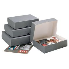 Perma/Dur Barrier Board Clamshell Boxes For Magazines And Pamphlets.