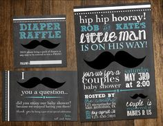 mustache baby shower invitation, diaper raffle, thank you card, and banner, printable, custom. $15.00, via Etsy.