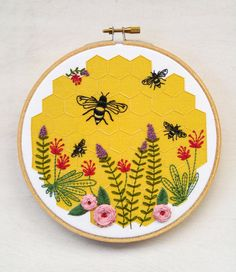 BEE LOVELY embroidery kit gift kit bee and honeycomb by cozyblue