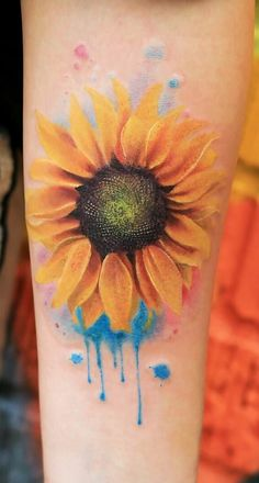Watercolor Sunflower Tattoo, Sunflower Tattoo Simple, Sunflower Tattoo Sleeve, Sunflower Tattoo Shoulder, Sunflower Tattoos, Sunflower Tattoo Design, Watercolor Tattoo, Small Sunflower, Cover Up Tattoos