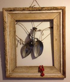 Antique Frame with Pewter Lobster & tiny cast iron red lobster
