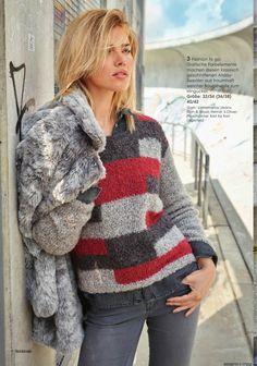 Pullover with a pattern of tricolor blocks Gilet Crochet, Crochet Cardigan, Knit Crochet, Winter Blouses, Fluffy Sweater, Knitted Coat, Winter Dresses, Sweater Fashion, Knit Patterns