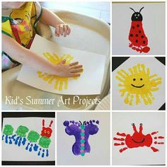 SUMMER HANDPRINT ART  http://www.pinkieforpink.com/2013/06/kids-summer-art-projects_27.html?spref=pi&m=1