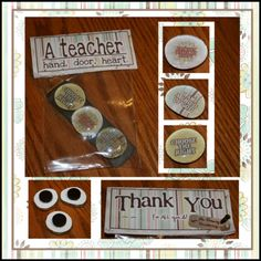 "Teacher appreciation - ""A Teacher takes a HAND, opens a DOOR, touches a HEART."" (marble CTR magnet gifts)"