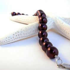 Burgundy Red Vintage Glass Pearl Bracelet Modern by TraceDesigns, $33.00