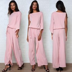 Stylish One Sleeve Belted Loose Wide Leg Jumpsuit Bridesmaid Dresses, Wedding Dresses, Jumpsuits For Women, Sleeve Styles, Wide Leg, Stylish, Long Sleeve, Sleeves, Pattern