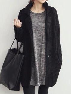 Black Long Sleeve Oversize Cardigan   Choies