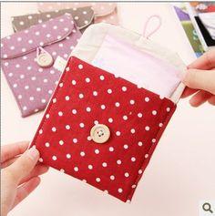 free shipping,6pcs/lot Brief Cotton Full Dots Sanitary Napkin Bags Sanitary Towel Storage Bag