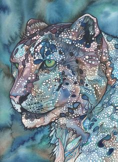 Watercolour Snow Leopard 8.5 x 11 print of hand painted detailed artwork in whimsical and psychedelic turquoise blue green purple colours