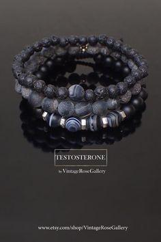 Mens Black Bracelet, Black Grey MENS bracelet, Black Gemstones Mens Bracelet, Stacking Mens Bracelet by VintageRoseGallery Etsy Jewelry, Jewelry Accessories, Handmade Jewelry, Men's Jewellery, Handmade Items, Black Bracelets, Bracelets For Men, As You Like, Gemstone Beads