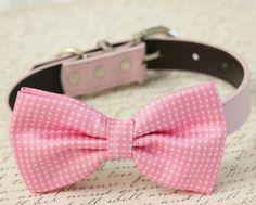 Soft Pink Dog Bow Tie Collar - Dog accessory- Leather dog collar