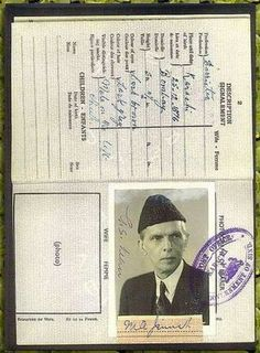Passport of Mohammad Ali Jinnah. Founder of Pakistan History Of Pakistan, Pakistan Zindabad, Pakistan Travel, Rare Pictures, Historical Pictures, Rare Photos, General Knowledge Book, Gernal Knowledge, Pakistan Independence Day