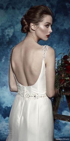 amanda wyatt bridal 2017 sleeveless beaded straps vneck trumpet mikado wedding dress (jewel) bv scoop back glam
