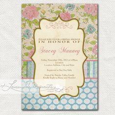 Shabby Chic Invitation - Baby Shower / Wedding Shower - PRINTABLE INVITATION DESIGN. $15.00, via Etsy.
