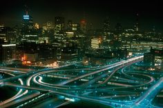 Interstate highways 90 and 94 meet at the Halsted Street Interchange in Chicago, February 1968.Photograph by James K. W. Atherton, National Geographic